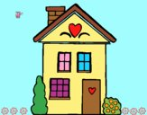 Coloring page House with hearts painted byAnia