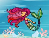 Coloring page Mermaid is floating painted bycristina