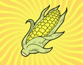 Coloring page A corncob painted byAnia