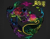 Coloring page Curled up dragon painted byrabid