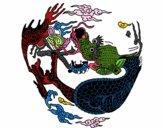 Coloring page Curled up dragon painted bybianca