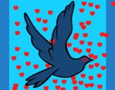 Coloring page Dove of peace in flight painted byKylee