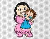 Coloring page Little girl with her doll painted byAnia