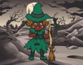 Coloring page A little witch painted bylilnae33
