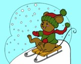 Coloring page Little rat in bobsleigh painted bylilnae33