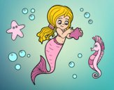 Coloring page Lovely mermaid painted byKitty