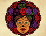 Coloring page Mexican skull female painted bylilnae33