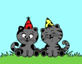 Coloring page Birthday cats painted byAnia