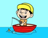 Coloring page Little boy fishing painted byAnia