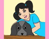Coloring page Little girl hugging her dog painted byAnia