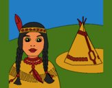 Coloring page Indian and teepee painted byCherokeeGl