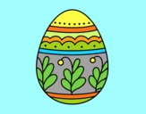 Coloring page Mandala easter egg painted byAnia