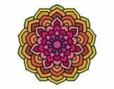 Coloring page Mandala flower petals painted bySantanab