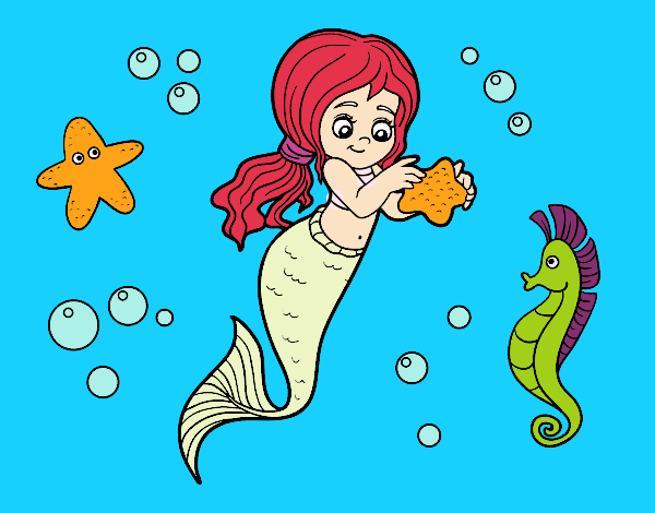 Coloring page Lovely mermaid painted byAryanLove