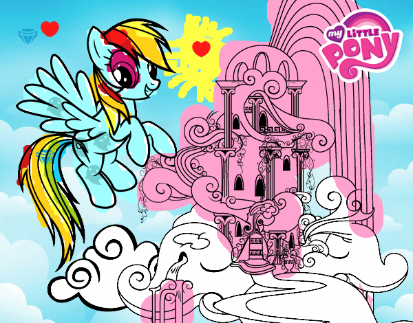 Coloring page Rainbow Dash palace painted byAryanLove