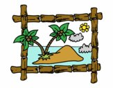 Coloring page Frame with palm trees painted byKhaos