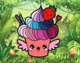 Cupcake kawaii with strawberry