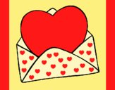 Coloring page Heart in an envelope painted byAnia