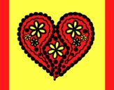 Coloring page Heart of flowers painted byAnia