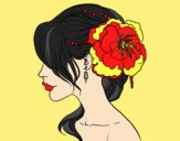 Coloring page Flower wedding hairstyle painted byAnia