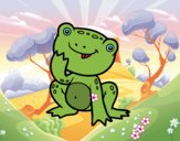 Coloring page A little frog painted byHanna