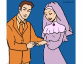 Coloring page Exchange of wedding ring painted bypinkrose
