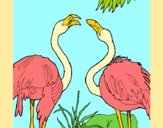 Coloring page Flamingos painted byAnia