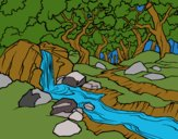 Coloring page Forest landscape with a river painted byHanna