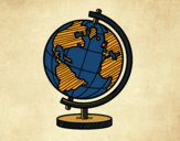 Coloring page A terrestrial globe painted byKhaos