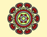 Coloring page Mandala vegetal growth painted byAnia