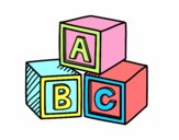 Coloring page Educational cubes ABC painted byAryanLove