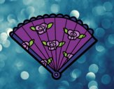 Coloring page Floral hand fan painted byBGMarshall
