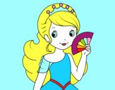 Princess and Hand fan