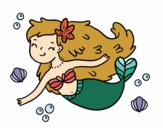 Coloring page A Happy Mermaid painted byAnnanymas