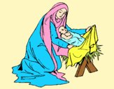 Coloring page Birth of baby Jesus painted byAnia