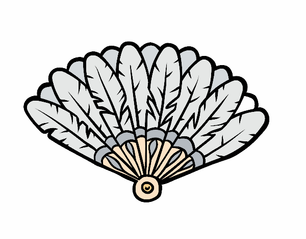 Coloring page Feather hand fan painted byAnnanymas