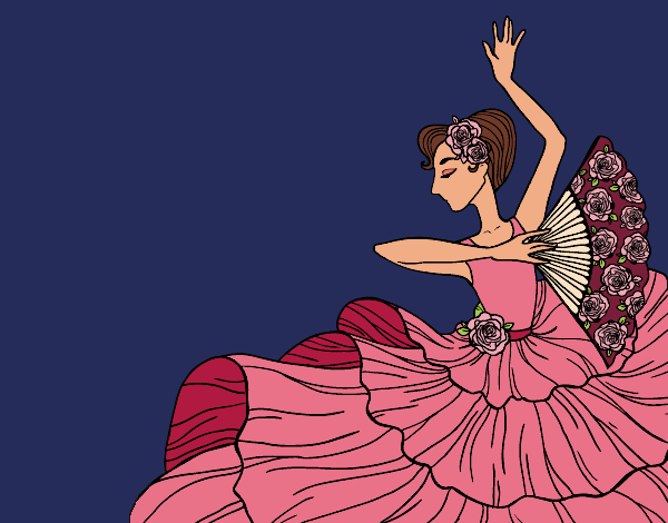 Coloring page Flamenco woman painted byAnnanymas