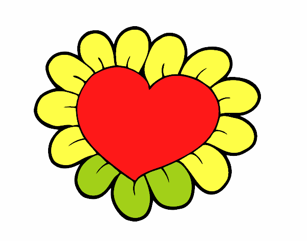 Coloring page Flower heart painted bySant