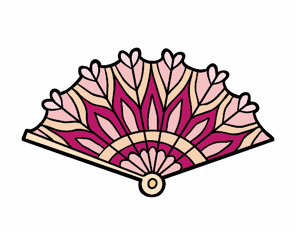 Coloring page Heart hand fan painted byAnnanymas