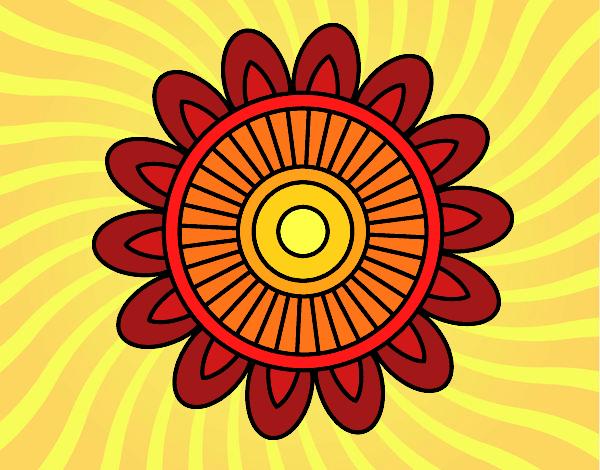 Coloring page Mandala solar painted bySant