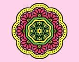 Coloring page modernist mosaic mandala painted byAnia