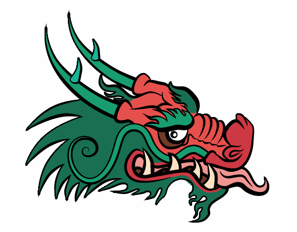 Coloring page Red dragon head painted byAnnanymas