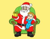 Coloring page Santa Claus and child at Christmas painted byAnia