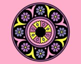 Coloring page Mandala flower painted byAnia