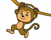 Coloring page Monkey hanging from a branch painted bytricky0225