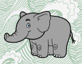 Coloring page A little elephant painted bysamg