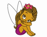Coloring page Fairy sitting painted byalexadra