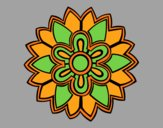 Coloring page Flower Mandala shaped weiss painted byAnia