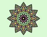 Coloring page Mandala flowery star painted byAnia