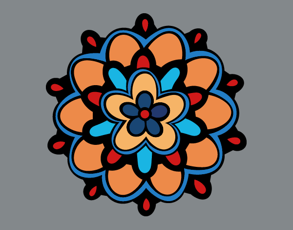 Coloring page Mandala with a flower painted byKhaos006